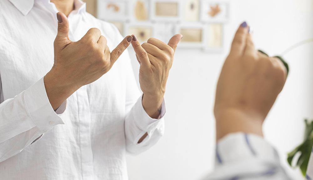 دو فرد در حال مکالمه به زبان اشاره